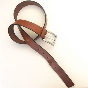 Tumi Brown Leather Brushed Nickel Buckle Belt